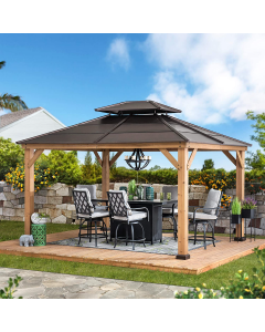 Sunjoy Brown11 ft. x 13 ft. Cedar Framed Gazebo with 2-tier Steel Roof and Hook