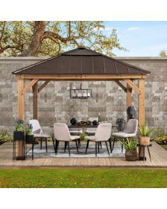 Sunjoy 11 ft. x 11 ft. Cedar Framed Gazebo with Brown Steel and Polycarbonate Hip Roof Hardtop