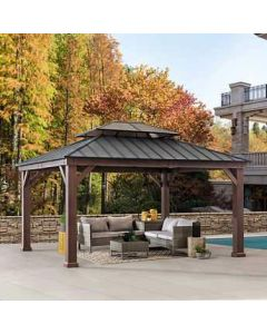 Sunjoy 12.9 FT. X 14.9 FT. Hardtop Gazebo with Steel Roof and Hook