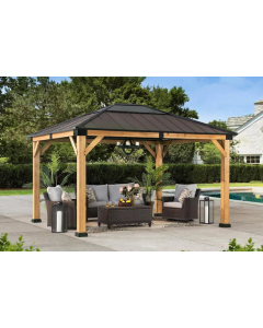 Sunjoy Brown 11 ft. x 13 ft. Cedar Framed Gazebo with Steel Roof and Hook