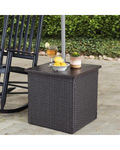 Sunjoy Combination Square Wicker Outdoor Patio Umbrella Stand Side Table with Umbrella Stand - Brown