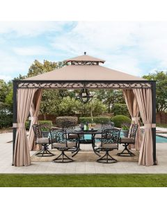 Sunjoy 10 ft. x 12 ft. Soft top Steel Gazebo with Mosquito Netting and Curtains