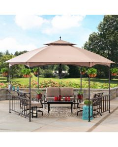 Sunjoy 11 ft. x 13 ft. Brown Steel Hexagon Gazebo with 2-Tier Dome Canopy and Side Panels