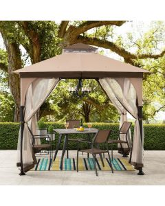 Sunjoy 8 ft. x 8 ft. Tan and Brown 2-Tone Steel Gazebo with Netting