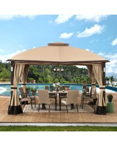 Sunjoy 11 ft. x 13 ft. Tan and Brown Gazebo with LED Lighting and Bluetooth Sound and Curtains