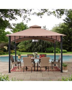 Sunjoy 11ft. x 11 ft. 2-tone Bronze Bamboo Steel Gazebo with 2-tier Hip Roof