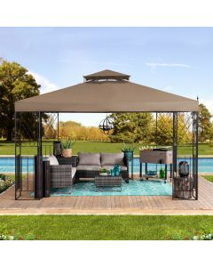 Sunjoy 10 ft. x 12 ft. Steel Gazebo with 2-tier Khaki Canopy and Corner fence structures