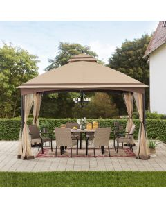 Sunjoy 10.5 ft. x 13 ft. Tan and Brown 2-tier Steel Gazebo with Mosquito Netting