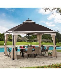 Sunjoy 10.5 ft. x 13 ft. Brown and Tan 2-tier Steel Gazebo with Mosquito Netting