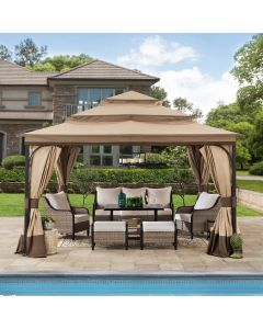 Sunjoy 13 ft. x 13 ft. Steel Gazebo with 3-tier Tan and Brown Canopy and Curtains