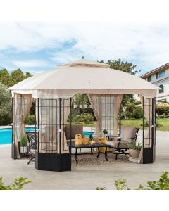Sunjoy 11 ft. x 13 ft. Octagon Gazebo with Beige Canopy and Netting and Corner Fence Structures