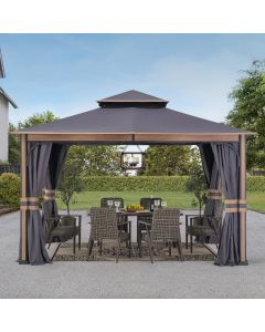 SummerCove Gray 11 ft. x 13 ft. 2-tier Gazebo with Curtains