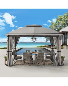 SummerCove Gray 10 ft. x 13 ft. 2-tier Gazebo with LED Lighting and Bluetooth Sound and Curtains