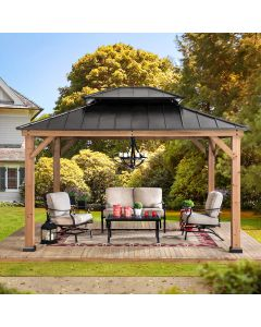 Sunjoy Black Archwood 11 ft. x 13 ft. Cedar Framed Gazebo with Hook and Steel Roof