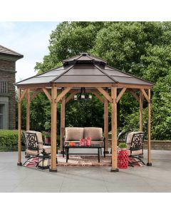 Sunjoy Brown 13 ft. x 13 ft. Cedar Framed Octagon Gazebo with  2-tier Steel Roof and Hook