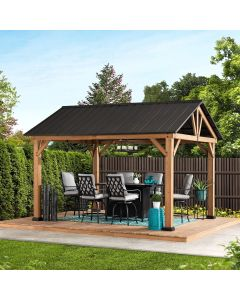 Sunjoy Matte-Black 11 ft. x 13 ft. Cedar Framed Gazebo with Hook and Steel Roof