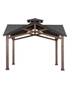 SummerCove Black 12.5 ft. x 12.5 ft. Cedar Framed Gazebo with 2-tier Steel Roof