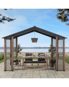 SummerCove Black 11 ft. x 13 ft. Cedar Framed Gazebo with Steel Roof and Corner Fence Structures