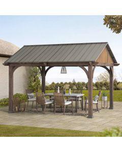 SummerCove Brown 12 ft. x 14 ft. Cedar Framed Gazebo with Steel Roof