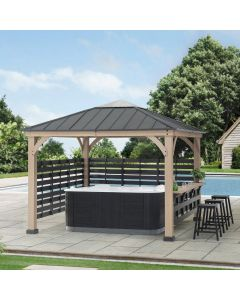 SummerCove 11 ft. x 11 ft. Cedar Wood Framed Hot Tub Gazebo with Steel and Polycarbonate Hardtop