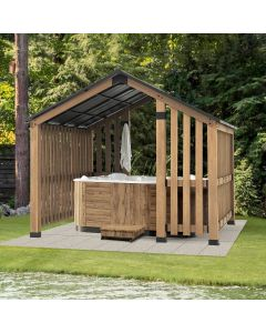 SummerCove 11 ft. x 11 ft.  Cedar Wood Framed Hot Tub Gazebo with Steel Hardtop