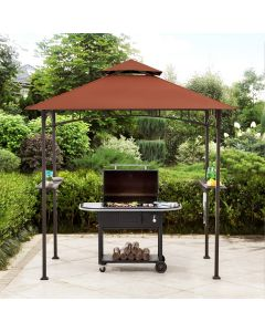 Sunjoy 5 ft. x 8 ft. Black Steel 2-tier Grill Gazebo with Red Canopy and Shelves