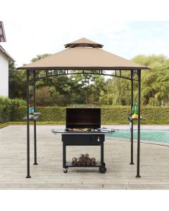 Sunjoy 5 ft. x 8 ft. Brown Steel 2-tier Grill Gazebo with Tan and Brown Canopy and Shelves