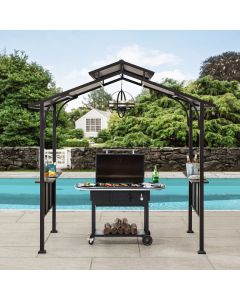 Sunjoy 5 ft. x 8 ft. Brown Steel 2-Tier Grill Gazebo Hardtop with Hook and Shelves