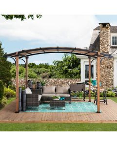 Sunjoy 8.5 ft. x 13 ft. Steel Arched Pergola with Natural Wood Looking Finish and Tan Shade and Shelf