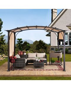 Sunjoy 9.5 ft. x 11 ft. Brown Steel Arched Pergola with 2-Tone Adjustable Shade