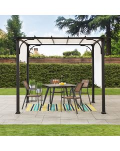 Sunjoy 10 ft. x 10 ft. Black Steel Classic Pergola with Adjustable White Shade