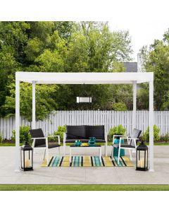 Sunjoy 10 ft. x 10 ft. Modern White Steel Gazebo with White Flat Top Canopy