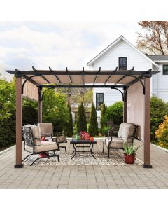 Sunjoy 11 ft. x 11 ft. Steel Pergola with Natural Wood Looking Finish and Adjustable Tan Shade