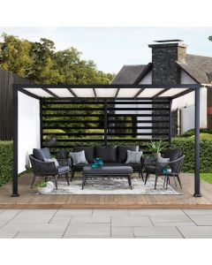 Sunjoy 12 ft. x 10 ft. Modern Steel Pergola with White Adjustable Canopy
