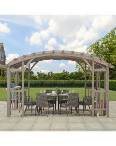 SummerCove Light Gray 10 ft. x 14 ft. Cedar Framed Arched Pergola with Canopy and Shelf