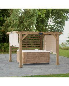 SummerCove 10 ft. x 11 ft. Cedar Wood Framed Hot Tub Pergola with Adjustable Canopy