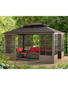 Sunjoy 12 ft. x 14 ft. Brown Steel Screenhouse with 2-Tier Hardtop and Door