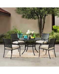 Sunjoy 5-pc. Black Aluminum Lattice Dining Set with Beige Seat Cushions