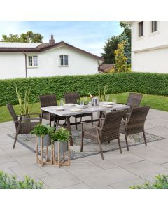 SummerCove 7-pc. Brown Wicker Dining Set with Umbrella Hole