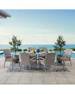 SummerCove 7-pc. Khaki Wicker Dining Set with Umbrella Hole