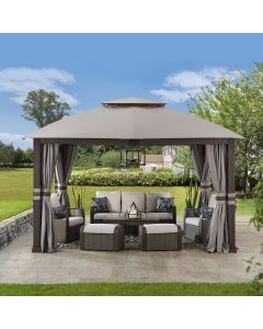 SummerCove Light Gray 11 ft. x 13 ft. 2-tier Soft Top Gazebo with Netting and Curtains