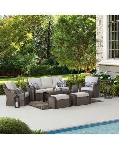 SummerCove 6-pc. Brown Wicker Outdoor Deep Seating Set with 2 Ottomans