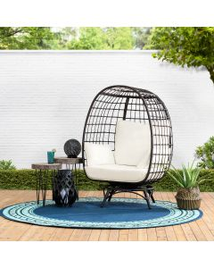 Sunjoy Wicker Swivel Egg Cuddle Chair with Legs and Cushion