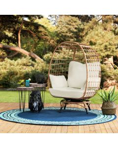 Sunjoy Light Brown Wicker Swivel Egg Cuddle Chair with Legs and Cushion