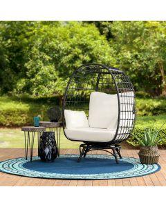 Sunjoy Black Wicker Swivel Egg Cuddle Chair with Legs and Cushion