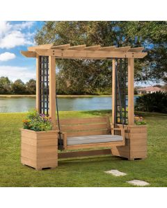 SummerCove Cedar Wood Pergola Arbor 3-Seat Swing Chair with Planters and Bench Cushion