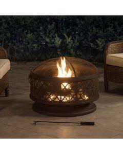 Sunjoy 30 in. Round Wood-burning Firepit
