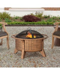 Sunjoy 30 in. Woven Round Wood Burning Firepit with Tool