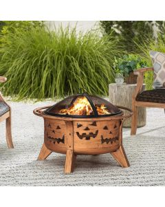 Sunjoy 30 in. Jack-o-lantern Round Wood Burning Firepit