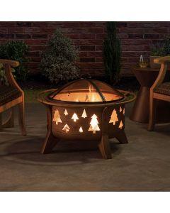 Sunjoy 30 in. Tree Motif Round Wood Burning Firepit